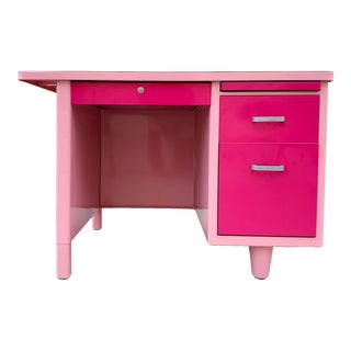1960s Single Pedestal Tanker Desk Refinished in Two-Tone Pink For Sale
