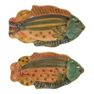 Italian Hand Painted Ceramic Fish Trays/Wall Plaques - a Pair For Sale