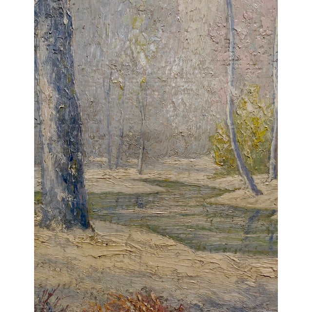 William Krullaars -Winter Solitude by the Creek Landscape - Oil Painting-C1900s For Sale In Los Angeles - Image 6 of 10