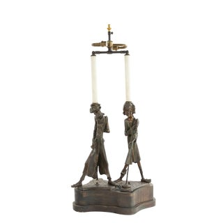 Early 20th Century English Victorian Metal Figural Table Lamp For Sale