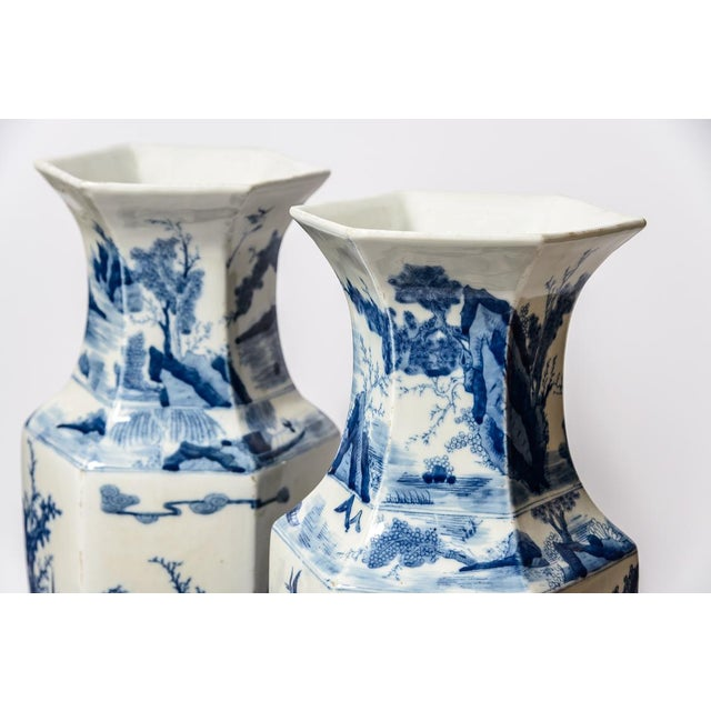 Late 20th Century 20th C. Tall Chinese Blue & White Vases - a Pair For Sale - Image 5 of 11