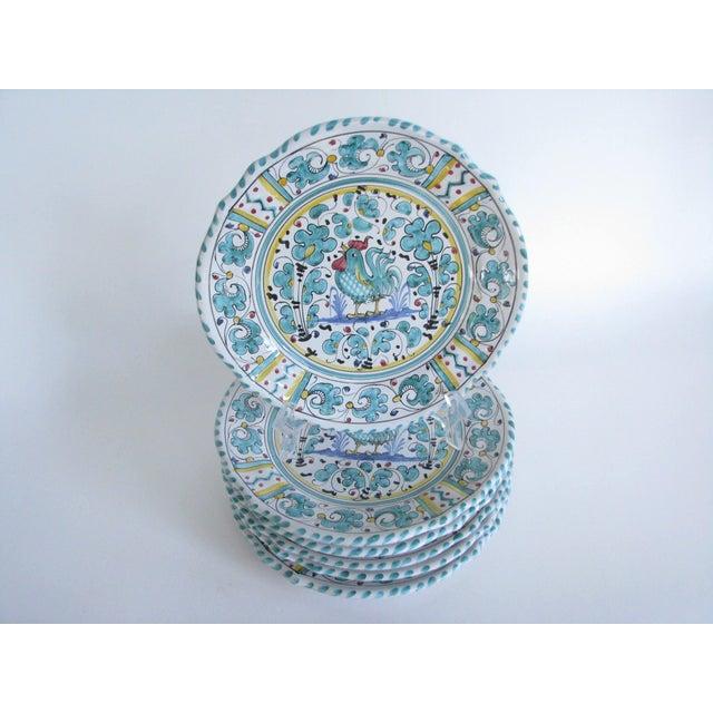 Ceramic Vintage Mari Deruta Italian Majolica Green Rooster Orvieto Pottery Plates - Set of 6 For Sale - Image 7 of 10