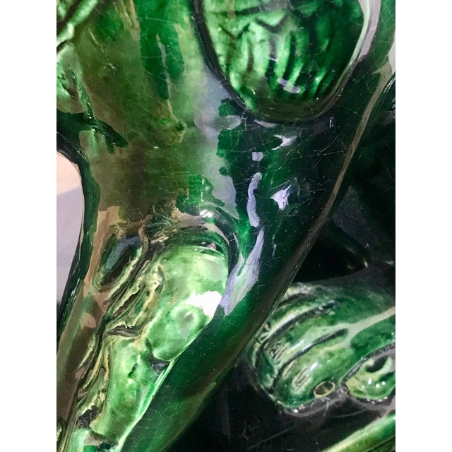 1970s 1950s Vintage Emerald Green Vintage Foo Dog Garden Statues - Pair For Sale - Image 5 of 8