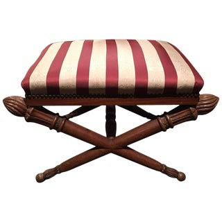 French Louis XVI Style Upholstered Stool With Torchiere Finials, 19th Century For Sale