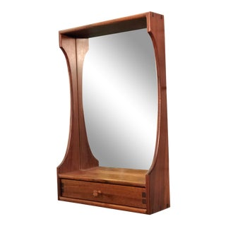 1980s Mid-Century Modern Teak Studio Crafted Wall Mirror With Drawer For Sale