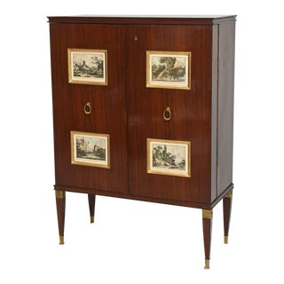 Fine Paolo Buffa Mahogany and Gilt Bronze Bar Cabinet, Italy For Sale