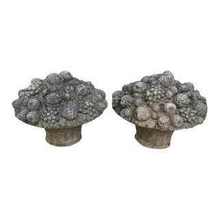 Monumental Stone Fruit & Flower Baskets - A Pair For Sale