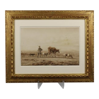 """""""Young Shepherd with Dog and Cattle"""" 19th Century Dutch Watercolor Painting"""