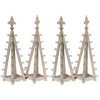 Two Pairs of Decorative Gothic Wooden Table Candleholders For Sale