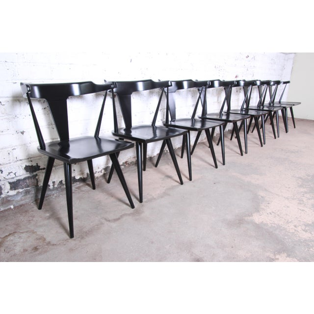 1950s Paul McCobb Planner Group T-Back Black Lacquered Solid Maple Dining Chairs, Set of Eight For Sale - Image 5 of 13