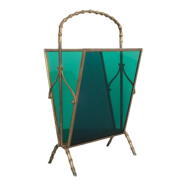 Maison Baguès Faux Bamboo Green Lucite Magazine Rack For Sale