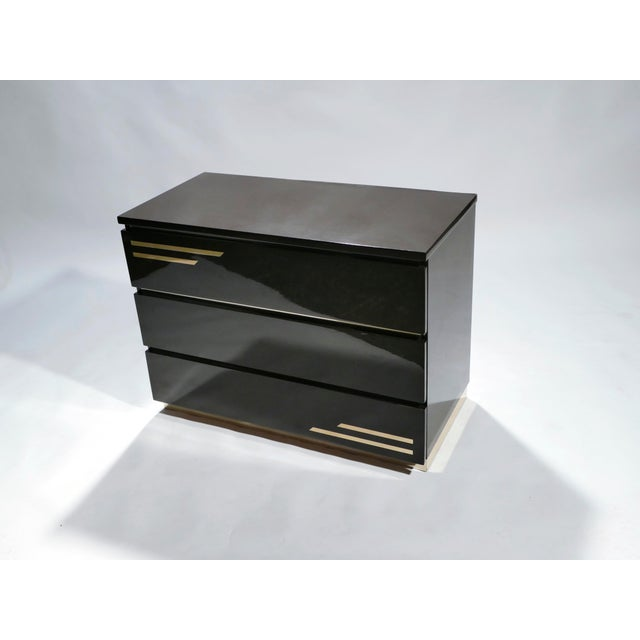 1970s Dark Brown Lacquer and Brass Chest of Drawers by j.c. Mahey, 1970s For Sale - Image 5 of 10