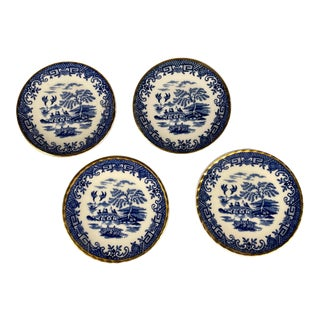 Antique Miniature Blue Willow Saucers Handmade in England - Set of 4 For Sale