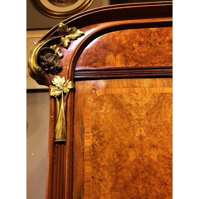 Antique ART NOUVEAU 19th/20th C FRENCH Walnut Satin Inlay BRONZE Mounted MIRROR ARMOIRE For Sale In New York - Image 6 of 10