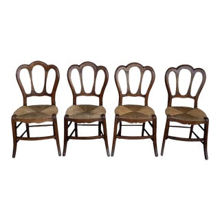 20th Victorian Chairs, Wood and Rattan - Set of 4 For Sale