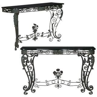 Pair of Art Nouveau Wrought Iron Antique Black Stone Console Tables For Sale