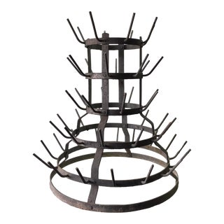 Early 1900's French Galvanized Wine Bottle Rack For Sale