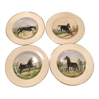 Le Mieux 24 Karat Gold Equestrian Horse Decorative Plates For Sale