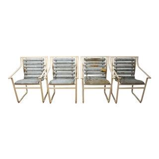 Mid-Century Danish Modern Samsonite Outdoor Scoop Seat Arm Chairs - Set of 4