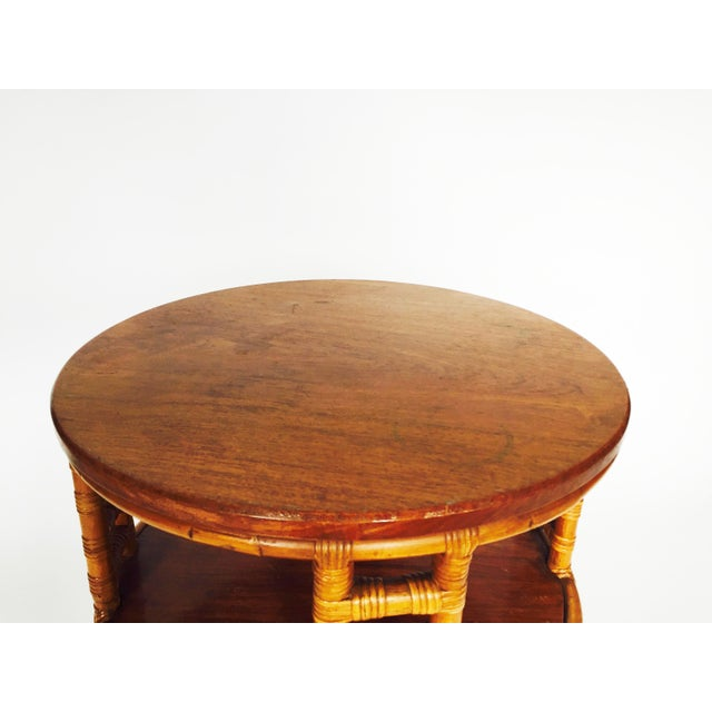 Vintage Round Bamboo Rattan Side Table - Image 4 of 5