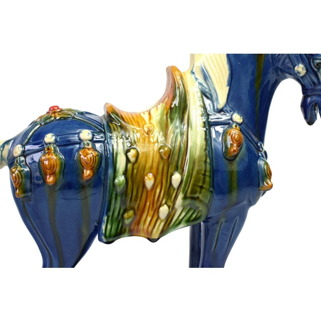 Blue Traditional Chinese Blue Terra Cotta Pottery Horse For Sale - Image 8 of 11