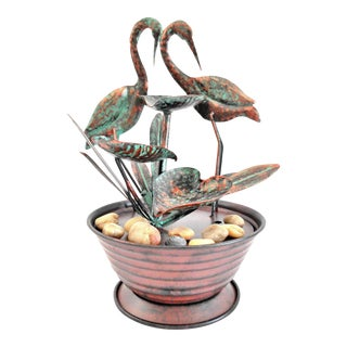 Cranes & Tiered Lily Cups With Reeds Tabletop Fountain For Sale