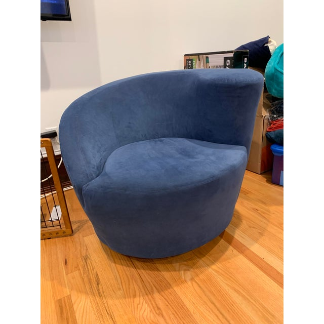 Modern Vladimir Kagan for Directional Nautilus Ultrasuede Swivel Chairs- a Pair For Sale In Los Angeles - Image 6 of 10