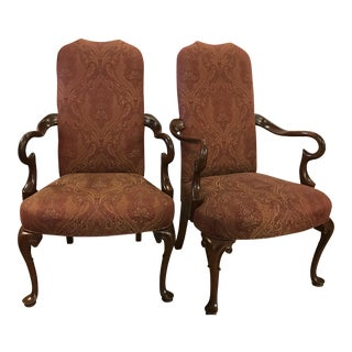 Mahogany Gooseneck Queen Anne Arm Chairs- a Pair For Sale