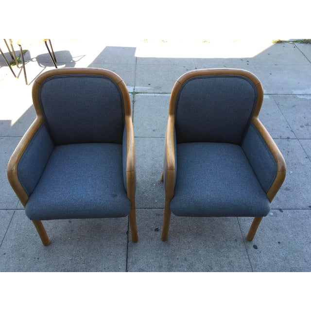 Ward Bennett 1980s Vintage Sculptural Oak Frame Arm Chairs - a Pair For Sale - Image 4 of 11