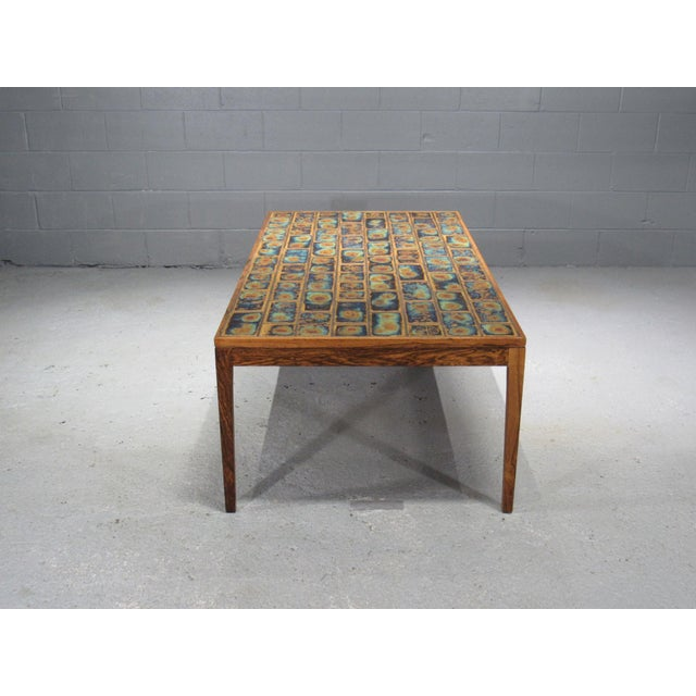1960s Danish Modern Rosewood and Tile Coffee Table For Sale In Boston - Image 6 of 10