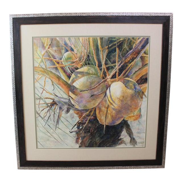 "Vintage Barbara Shipman Watercolor Painting ""Lots of Coconuts"" For Sale"
