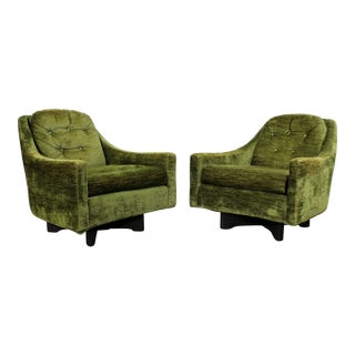 Pair of Mid-Century Danish Modern Adrian Pearsall Style Swivel Club Chairs For Sale