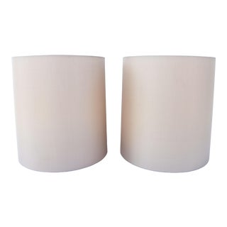 Gray Silk Cylinder Shades W/Diffusers - a Pair For Sale