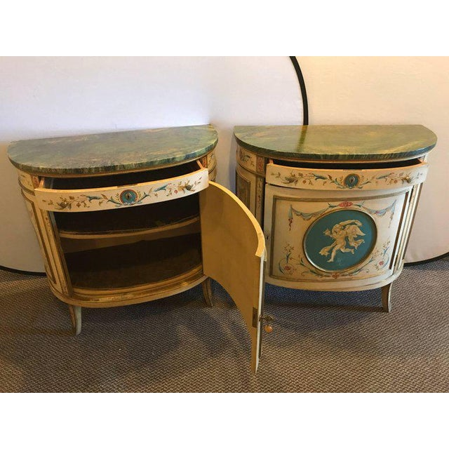 Adams Style Demilune Painted Commodes - A Pair - Image 9 of 11