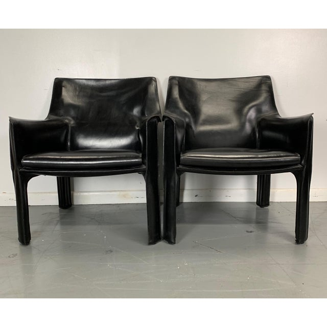 Cassina 1960s Vintage Mario Bellini Black Leather Cassina Cab Chairs- Pair For Sale - Image 4 of 6