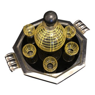 Art Deco Cordial Set, Yellow and Black Glass Bottle and Glasses on Silver Tray For Sale