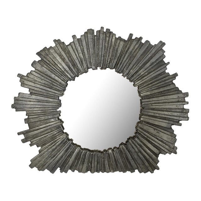 Brutalist Starburst Pewter Frame or Mirror For Sale - Image 9 of 9
