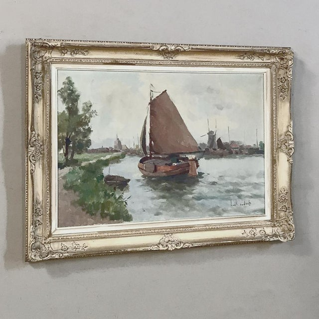 Antique Framed Oil Painting on Canvas For Sale In Dallas - Image 6 of 13