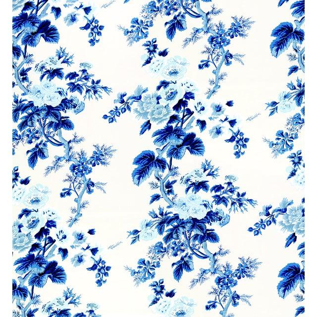 Contemporary Schumacher Pyne Hollyhock Wallpaper in Indigo For Sale - Image 3 of 3