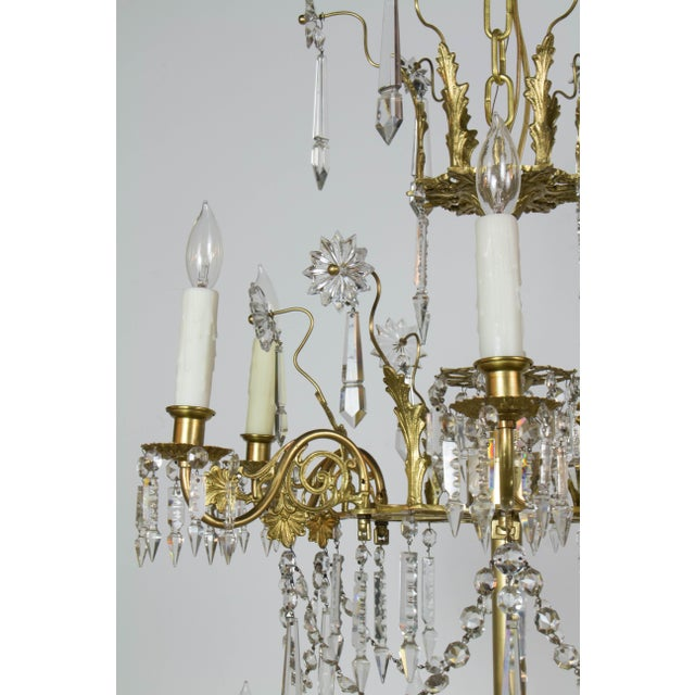 Brass Victorian Brass and Crystal Eighteen Light Chandelier For Sale - Image 7 of 11