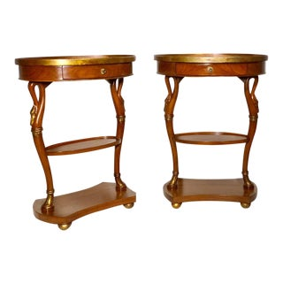 Pair of French Swan Side Tables For Sale