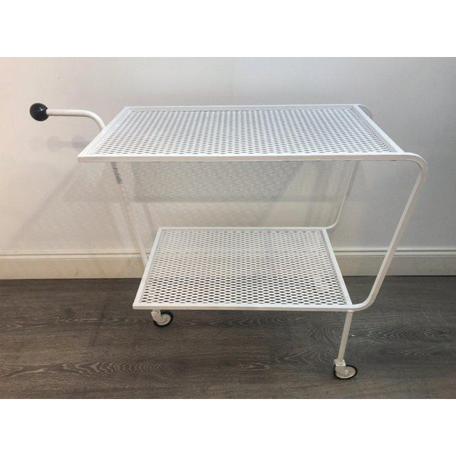 Modern Wrought Iron Bar Cart in the Attributed to Salterini For Sale - Image 4 of 10