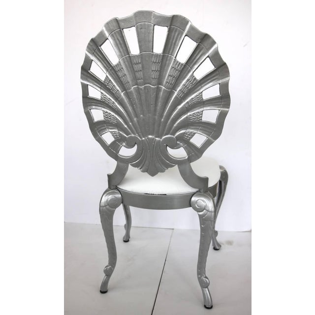 1950s Hollywood Regency Style Grotto Side Chairs in Silver - Set of 4 For Sale In West Palm - Image 6 of 8