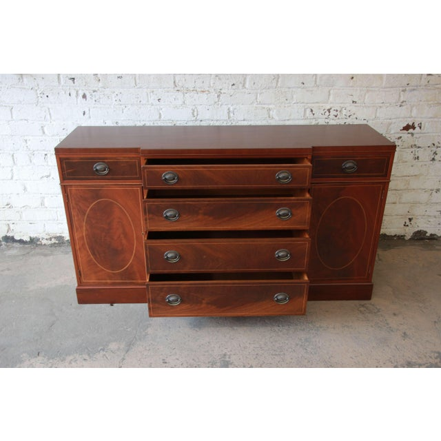 Brown Baker Furniture Inlaid Mahogany Sideboard Buffet For Sale - Image 8 of 11