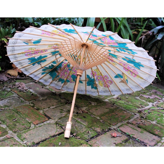 Vintage Asian Rice Paper Floral Umbrella - Image 6 of 10