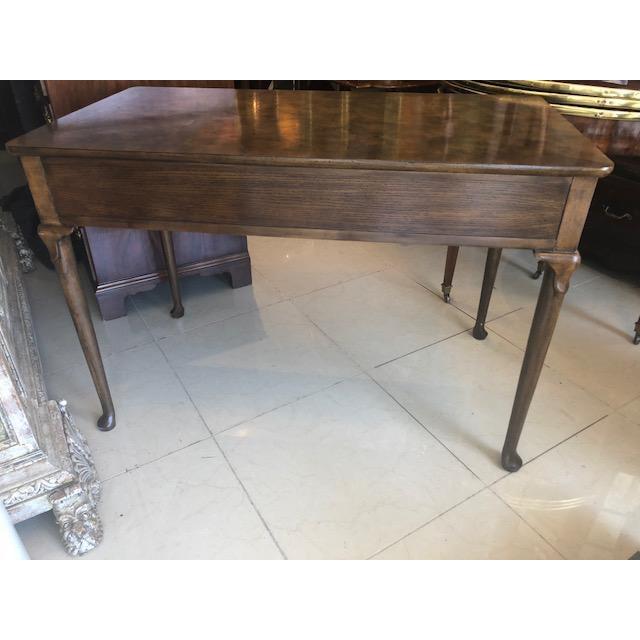 Brass 1960s Quenn Anne Baker Furniture Oak Writing Desk For Sale - Image 7 of 8