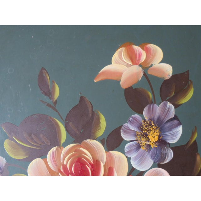 Vintage Floral Green Tole Tray - Image 3 of 5