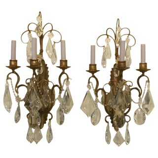 Vintage Gilt Metal and Large Crystal Sconces - a Pair For Sale