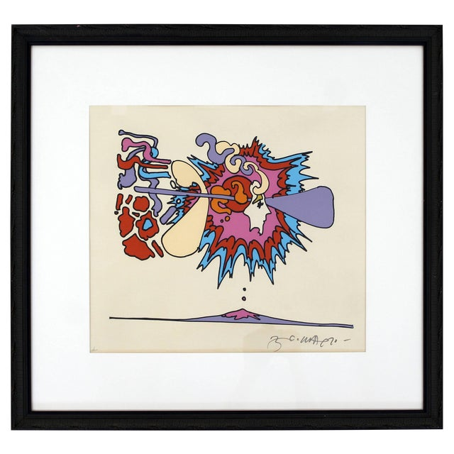 Mid-Century Modern Framed Litho Winter Sunshine Peter Max Signed Numbered 1970s For Sale