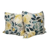 Image of Yellow and Teal Floral Pillows - A Pair For Sale